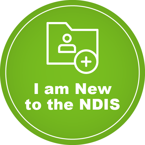 A green circle which features the text 'I am new to the NDIS'. There is a graphic of a folder with a plus sign and a generic avatar.