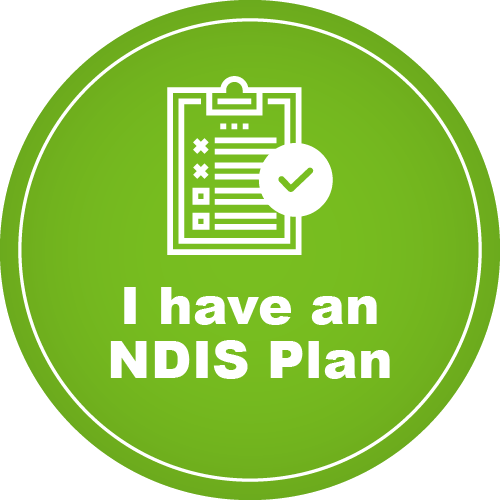 A green circle which features the text 'I have an NDIS plan'. There is a graphic of a plan with a tick.