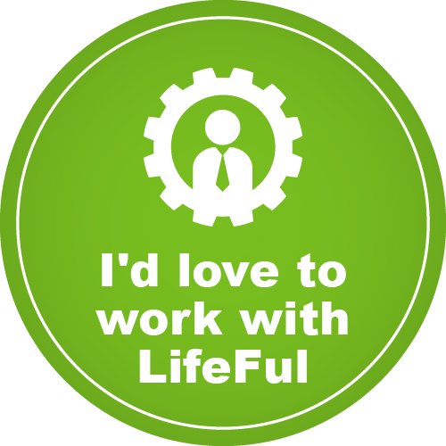 A green circle which features the text 'I'd love to work with Lifeful'. A graphic of an avatar with a tie inside a tyre.