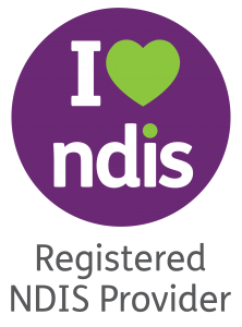 A logo which reads I heart NDIS in purple and green. Underneath is the text 'Registered NDIS Provider'