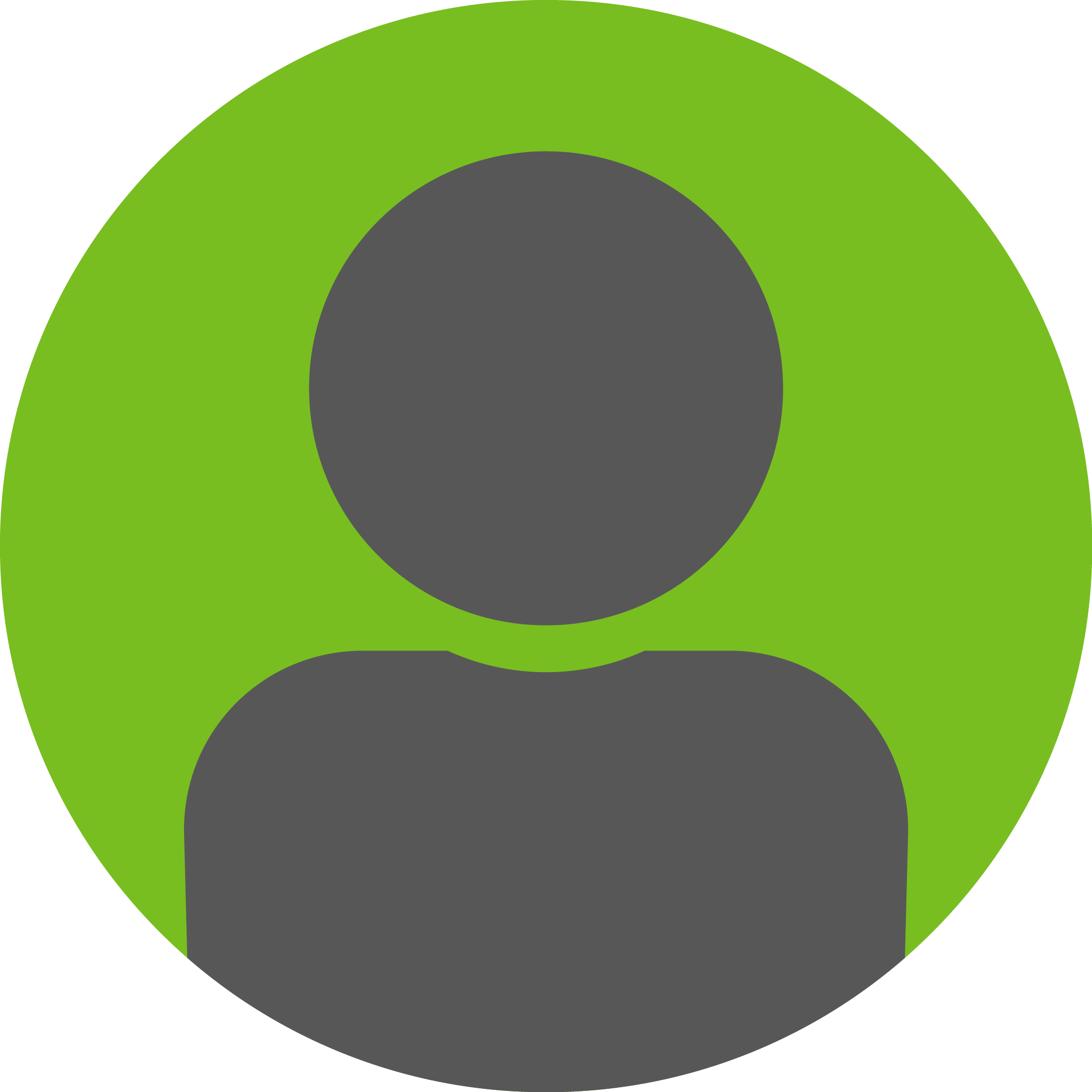 One avatar in dark grey on a lime green background.